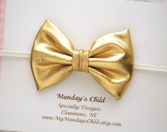 Gold Baby Bow Headband, Gold Baby Headband, Gold Bow Headband, Gold Bow, Baby Bow Headband, Baby Headband, Toddler Headband, Toddler Bows
