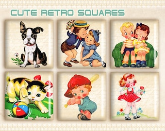 Retro 1x1 inch squares Printable download Digital collage sheet Paper goods Paper craft Vintage Retro images - CUTE RETRO IMAGES