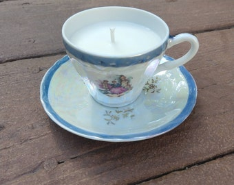 Bamboo & Coconut - Soy Wax Little Tea Cup and Saucer Candle