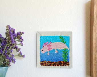 Axolotl With Aquatic Background Stitching