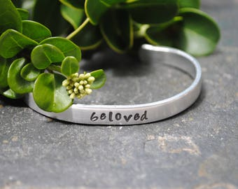 Beloved - Hand Stamped Cuff Bracelet - Christian Jewelry