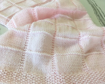 Hand Knitted Baby Blanket in pale pink