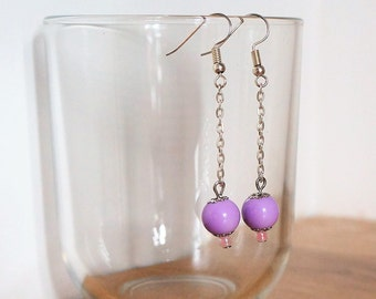 Dangling earrings, purple colored painted glass beads