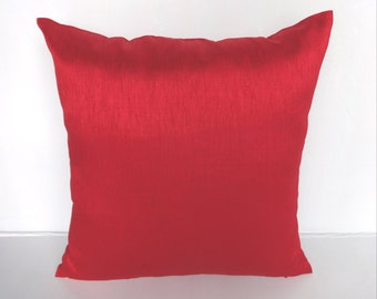 Bright Red artsilk cushion cover  and throw pillow. Deceretive festive pillow. 20% discount. 18 inch