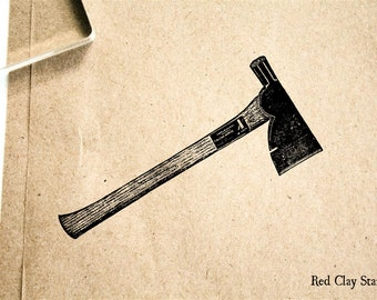 Hatchet Rubber Stamp - 2 x 2 inches