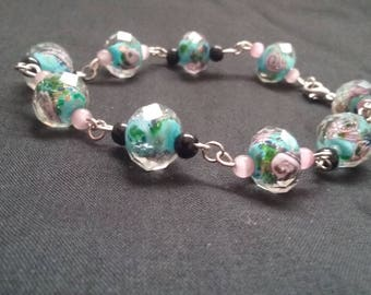 Pink Rose and Blue Beaded Chain Bracelet, Hand Beaded Bracelet, Hand Made Chain Bracelet, Beaded Jewelry, Chained Jewelry
