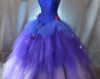 tulle skirt ballgown, 3 color ombre tulle skirt