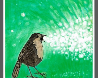 robin chirps bubbles surreal bird art PRINT no. 9 c-print 8 x 8