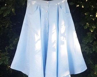 SALE Baby Blue Midi Skirt with POCKETS! Australian Made. High waisted, Lightweight with Pearl Buttons