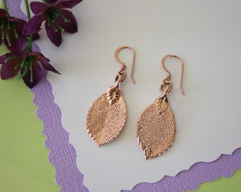 Rose Leaf Earrings Rose Gold, Rose Leaf, Small Size Earrings, 24kt Rose Gold Earrings, LESM216