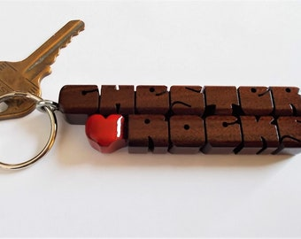 Rosewood 2-Liner Love Keychain, Names Custom Carved to Order