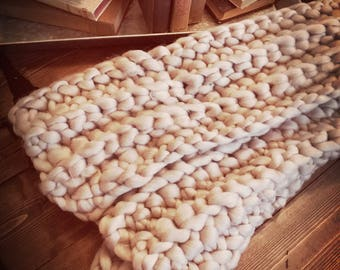 Hand Knit Chunky Blanket