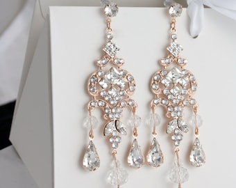 Chandelier wedding earrings swarovski crystal bridal earrings chandelier wedding earrings rose gold bridal earrings long vintage art deco swarovski crystal rhinestone earrings clarissa wedding jewelry mozeypictures Image collections