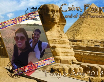 """NEW!! Personalized Cairo Travel Wood Photo Print 5"""" x 7"""" Template."""