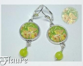 "Cabochons earrings ""retro flowers"""