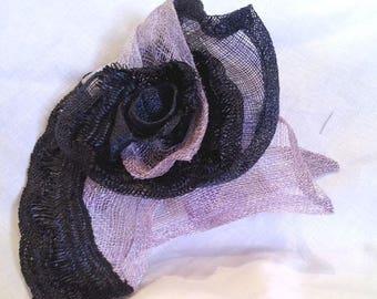 fascinator black and purple