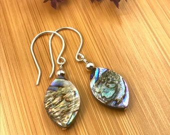 Abalone Sterling Earrings, Abalone Teardrop Earrings, Abalone Silver Earrings, Abalone Drop, Abalone Shell ,Abalone Dangle, Sea Shell