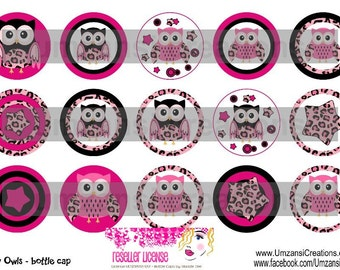 "15 Funky Owls Digital Download for 1"" Bottle Caps (4x6)"