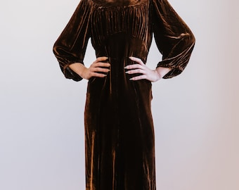 RARE 1930s silk velvet heavily smocked dress with bishop sleeves ART DECO antique dress