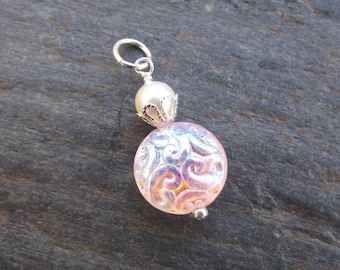 CLEARANCE - Pink Iridescent Glass Brocade Bead and Crystal Pearl Pendant