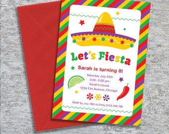Fiesta Birthday Party Invitation – DIY Printable Personalized (Digital File)