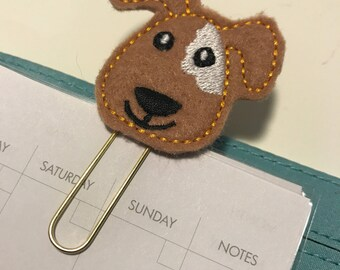 Tan and White Puppy Felt Planner Clip - Paper Clip - Bookmark
