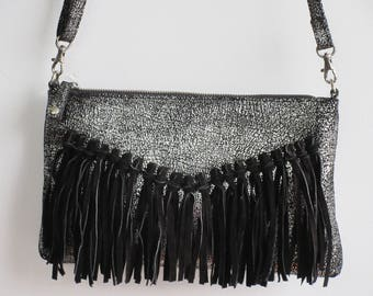 Cross Body Leather Bag with Suede Fringes