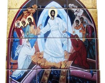 Christian art - Resurrection of Jesus tile mural - christian wall art, christian icon, christian gifts, handmade, easter gift - Anastasis