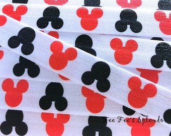"""5 Yards - Mouse FOE - Red/White and Black Printed Elastic- Fold over Elastic- Printed FOE Elastic- 5/8"""" Clearance FOE"""