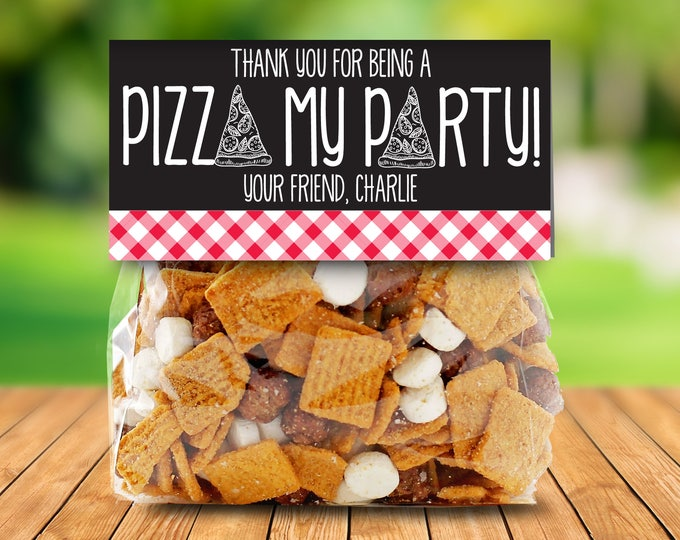 Pizza Party Treat Toppers - Thank You Tag, Pizza Favor, Pizza Birthday, Baggie Topper  | Editable Instant Download DIY Printable PDFs