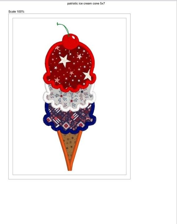 Buy 2 Get 1 Free 4th Of July Ice Cream Cone Patriotic Applique