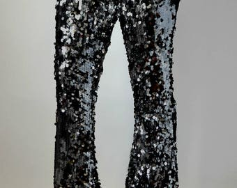 Black Sequin Wide Flare Pants