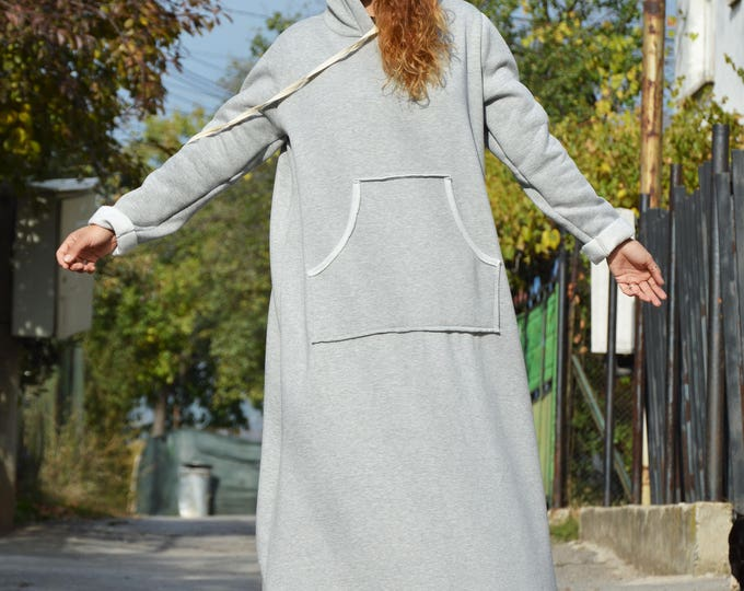 Casual Hooded Maxi Dress, Plus Size Clothing, New Winter Dress, Maxi Tunic Dress with Hoodie,Extravagant Dress Outside Pockets by SSDfashion