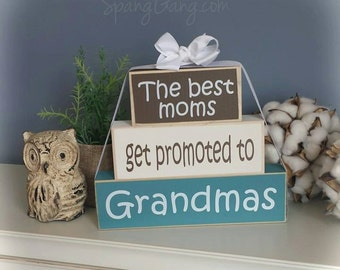 "New Grandparents Wood Block Stack: ""The Best Grandmas Get Promoted to Great-Grandmas"" - Pregnancy announcement, Grandma, Grandparents"