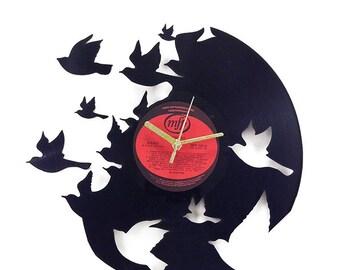 Birds Vinyl Clock