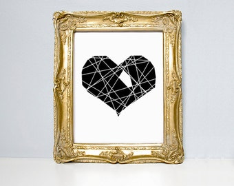 Heart illustration print, Hole In My Heart, black and white print, deconstructed heart, heart, illustration print, poster