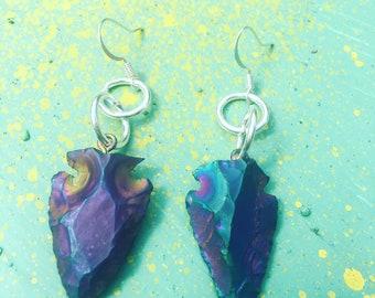 Iridescent Arrowhead Earrings