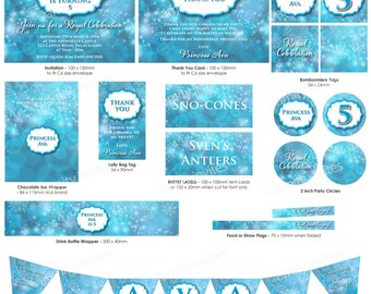 Printable GIRLS BIRTHDAY Stationery - Snowflakes Frozen Inspired Snow Ice Blue Snowflake Princess (Full Set)
