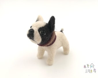 "4""Custom Needle felted realistic bull dog.Miniature Art Sculpture. One of a kind. Wool animal sculpture. Poseable"