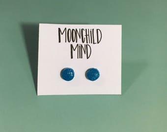 Mini Turquoise Glitter Clay Earrings