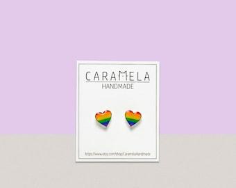 Rainbow Heart Stud Earrings/ gay pride stud earrings/ Rainbow earrings gay pride LGBT