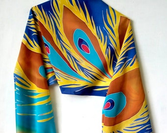 Feather silk shawl Hand painted silk Handpainted scarf Phoenix scarves Firebird gift Long scarf Batik gift for sister mom from daughter