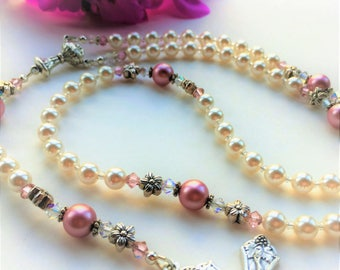 Beautiful Pink & Pearl Swarovski Rosary, Baptism Gift for Girl, Personalized Rosary, First Communion Gift
