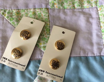 Four Vintage Carded Buttons, Shank, Gold Colored Metal with a Crest, 3/4 in., Made in U.S.A.