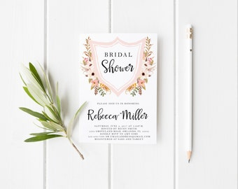 Pink Crest Floral Watercolor Blush Bridal Shower Invitation Wedding Party Invitation Hens Party Bachelorette Party Invite Printable