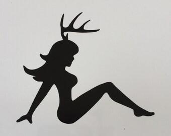 Mud Flap Girl Deer Vinyl Decal