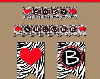 Printable Valentines Day Banner Template, EDITABLE Red & Black Valentine Party Decor, Baby Shower Banner, Zebra Birthday Banner Photo Prop