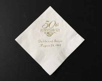 50th Anniversary Napkins Personalized Set of 100 Napkins Anniversary Party Supplies