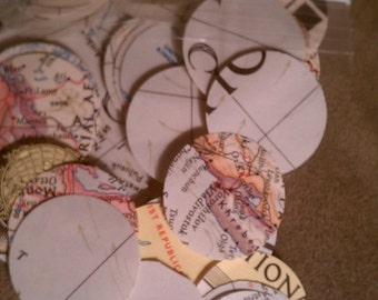 "100+ paper die cut vintage MAP circles 1"", Vintage Map die cut 1 inch circle, Vintage map, map die cuts, Supplies, Paper Goods, Maps"