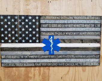 Wooden Rustic-Style Thin White Line American Flag with EMS Prayer and Star of Life